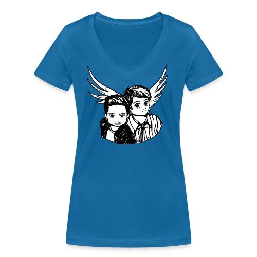 Destiel i sort/hvid - Økologisk Stanley & Stella T-shirt med V-udskæring til damer