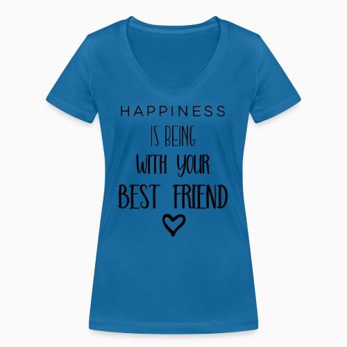 Happiness black edition - Women's Organic V-Neck T-Shirt by Stanley & Stella