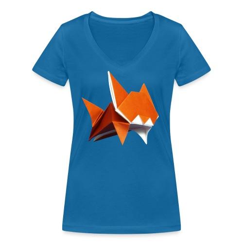 Jumping Cat Origami - Cat - Gato - Katze - Gatto - Women's Organic V-Neck T-Shirt by Stanley & Stella
