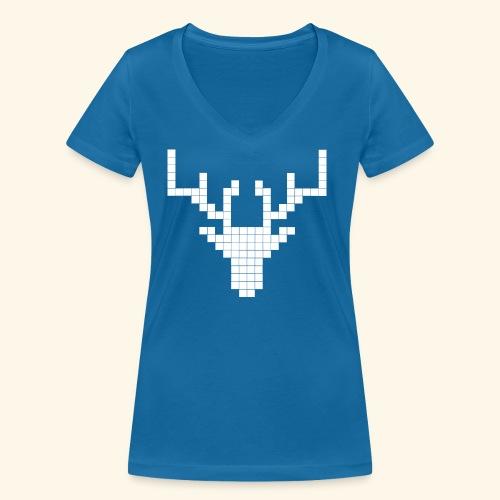 PIXELHIRSCH - only - Frauen Bio-T-Shirt mit V-Ausschnitt von Stanley & Stella