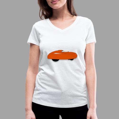 it's a velomobile white text - Stanley & Stellan naisten v-aukkoinen luomu-T-paita