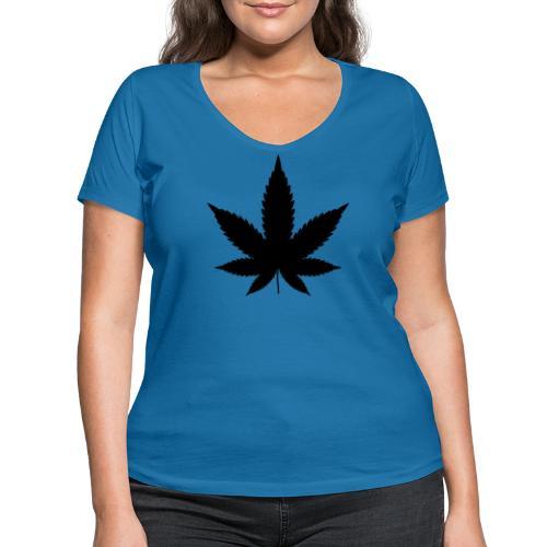 CannabisBlack - Frauen Bio-T-Shirt mit V-Ausschnitt von Stanley & Stella
