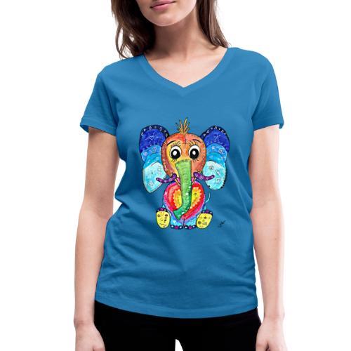Happy Elephant - Frauen Bio-T-Shirt mit V-Ausschnitt von Stanley & Stella