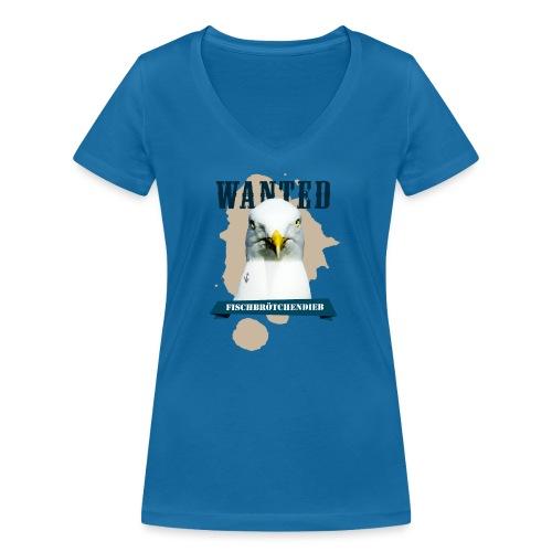 WANTED - Fischbrötchendieb - Frauen Bio-T-Shirt mit V-Ausschnitt von Stanley & Stella