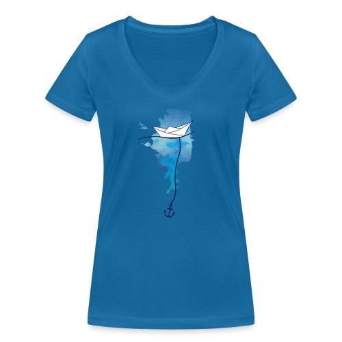 Papierschiff - Frauen Bio-T-Shirt mit V-Ausschnitt von Stanley & Stella