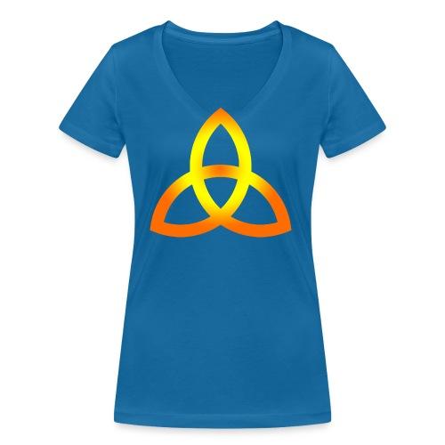 Orangegoldene Triquetra - Frauen Bio-T-Shirt mit V-Ausschnitt von Stanley & Stella