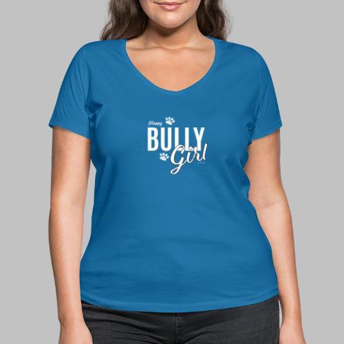 Happy Bully Girl - Französische Bulldogge Frenchie - Frauen Bio-T-Shirt mit V-Ausschnitt von Stanley & Stella