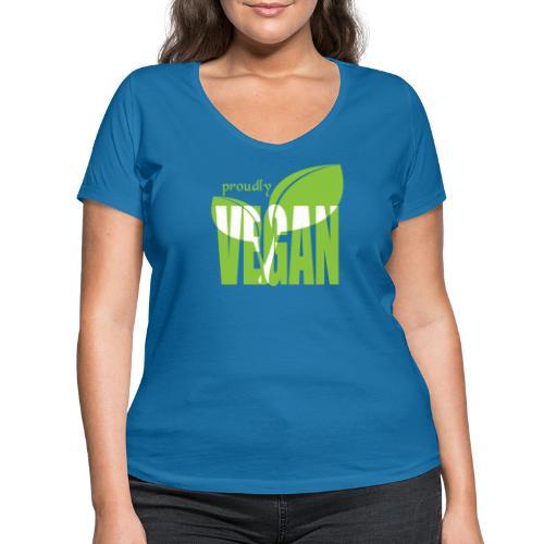 proudly vegan - Frauen Bio-T-Shirt mit V-Ausschnitt von Stanley & Stella