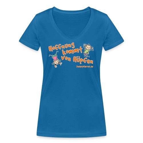Hoffnung kommt von Hüpfen - Kinder - Frauen Bio-T-Shirt mit V-Ausschnitt von Stanley & Stella