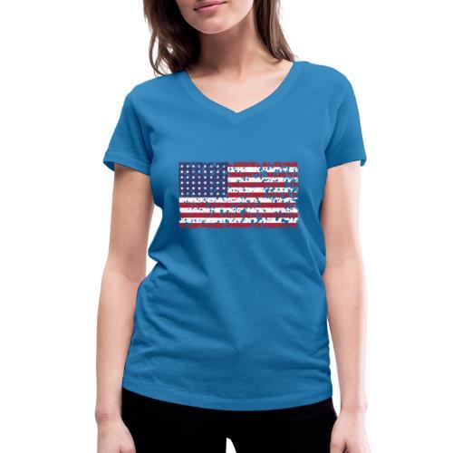 AVM WWII Trashed 48 star flag in color D'Day - Vrouwen bio T-shirt met V-hals van Stanley & Stella