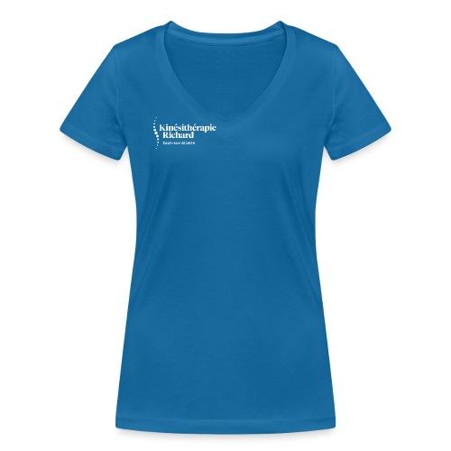 Logo Kiné Richard, White - Frauen Bio-T-Shirt mit V-Ausschnitt von Stanley & Stella