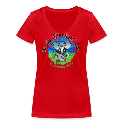 World Elephant Day 2018 - Frauen Bio-T-Shirt mit V-Ausschnitt von Stanley & Stella
