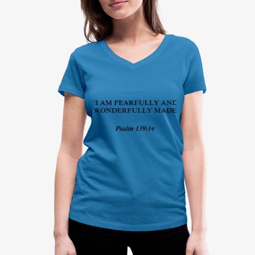 Psalm 139:14 black lettered - Vrouwen bio T-shirt met V-hals van Stanley & Stella