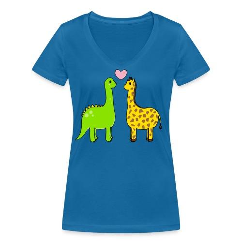 Dino Giraffe True - Ekologisk T-shirt med V-ringning dam från Stanley & Stella