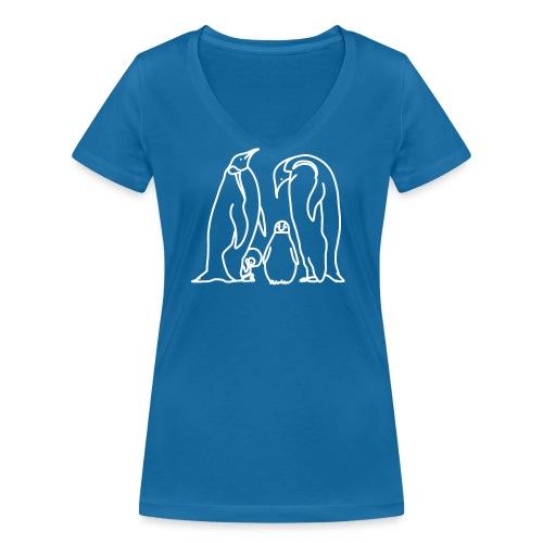 Pinguin Familie Familienshirt Tierfreunde Geschenk - Frauen Bio-T-Shirt mit V-Ausschnitt von Stanley & Stella