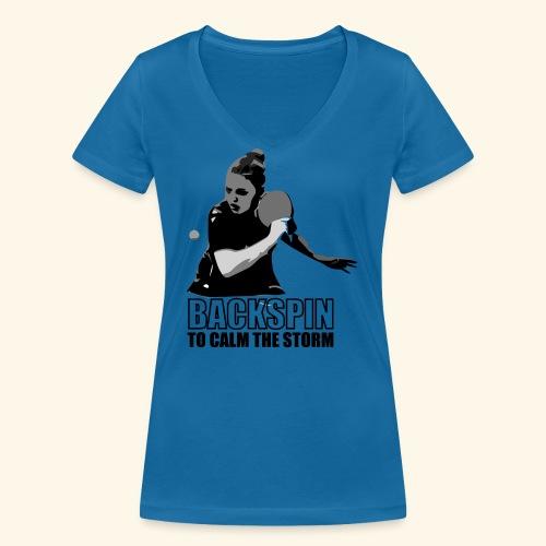 Backspin to calm the storm, play table tennis - Frauen Bio-T-Shirt mit V-Ausschnitt von Stanley & Stella