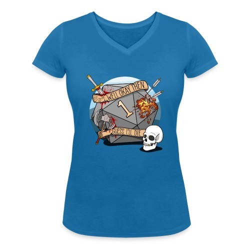 Arvelen kuolen - DND D & D Dungeons and Dragons - Stanley & Stellan naisten v-aukkoinen luomu-T-paita