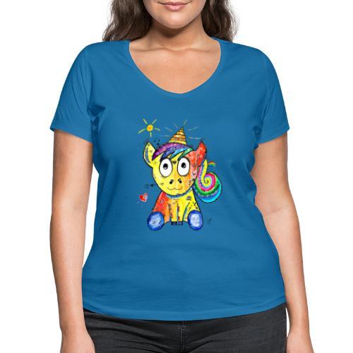 Happy Unicorn - Frauen Bio-T-Shirt mit V-Ausschnitt von Stanley & Stella