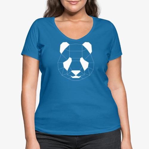 Panda Geometrisch weiss - Frauen Bio-T-Shirt mit V-Ausschnitt von Stanley & Stella