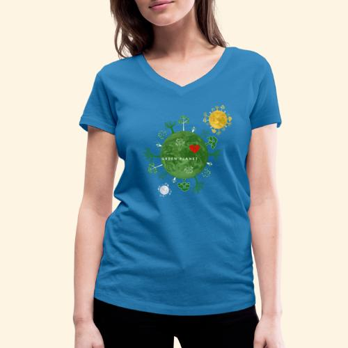 Trees on Green Planet with Sun Moon - Vrouwen bio T-shirt met V-hals van Stanley & Stella