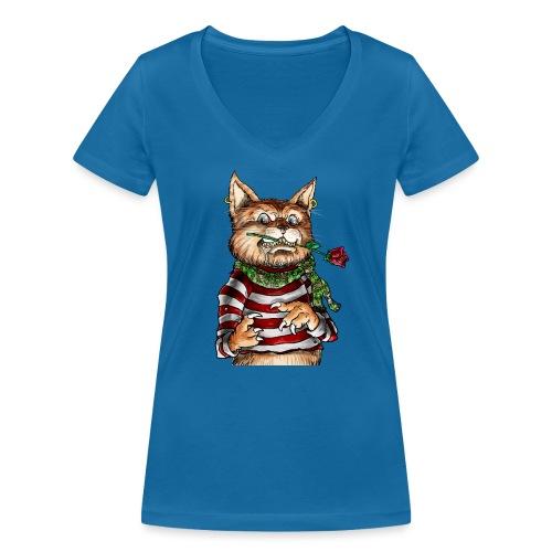 T-shirt - Crazy Cat - T-shirt bio col V Stanley & Stella Femme