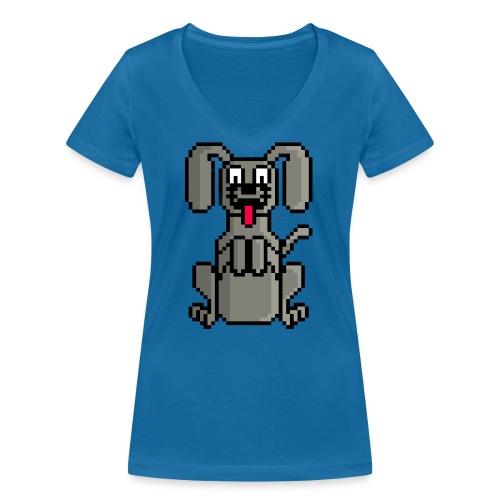 PerroPixelArt - Camiseta ecológica mujer con cuello de pico de Stanley & Stella