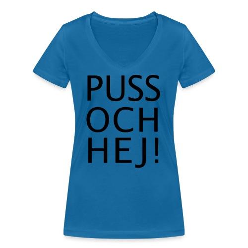 PUSS OCH HEJ! - Ekologisk T-shirt med V-ringning dam från Stanley & Stella