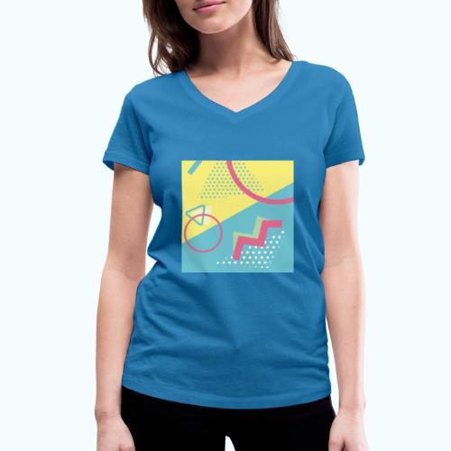 Pastel turquoise geometry - Women's Organic V-Neck T-Shirt by Stanley & Stella