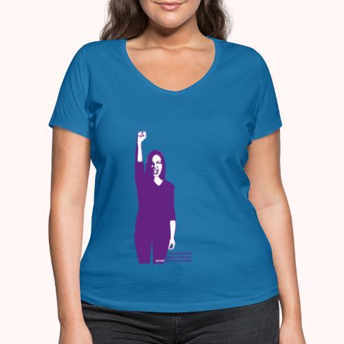 Streik-Motiv vorne   Motif devant - Frauen Bio-T-Shirt mit V-Ausschnitt von Stanley & Stella