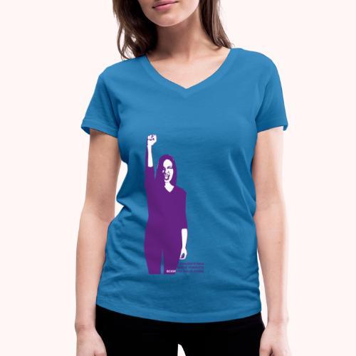 Streik-Motiv vorne | Motif devant - Frauen Bio-T-Shirt mit V-Ausschnitt von Stanley & Stella