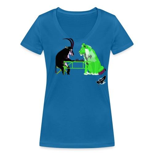 Playing Senet by BlackenedMoonArts, green w. logo - Økologisk Stanley & Stella T-shirt med V-udskæring til damer