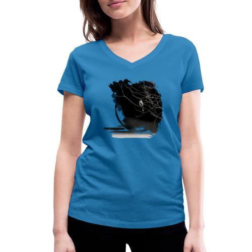 bird in zen circle above water bird on branch Zen - Women's Organic V-Neck T-Shirt by Stanley & Stella