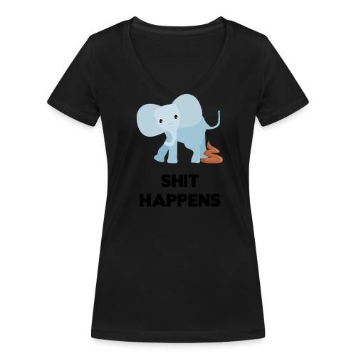 olifant met drol shit happens poep schaamte - Vrouwen bio T-shirt met V-hals van Stanley & Stella