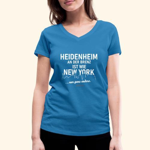 Heidenheim 💖 an der Brenz ist wie NewYork - Frauen Bio-T-Shirt mit V-Ausschnitt von Stanley & Stella