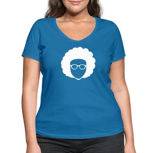 Afro Nerd - nerdy - Women's Organic V-Neck T-Shirt by Stanley & Stella