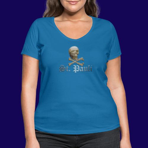 St. Pauli (Hamburg) Piraten Symbol mit Schädel - Frauen Bio-T-Shirt mit V-Ausschnitt von Stanley & Stella