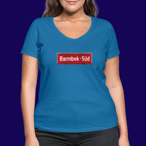 HAMBURG Barmbek Sued Ortsschild rot antik - Frauen Bio-T-Shirt mit V-Ausschnitt von Stanley & Stella