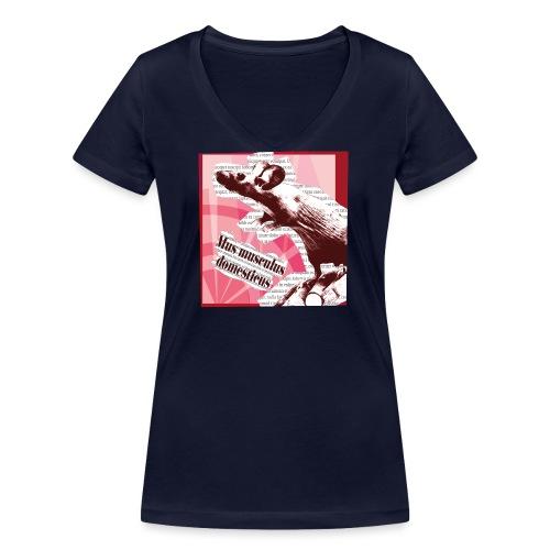 Mus musculus - punainen - Stanley & Stellan naisten v-aukkoinen luomu-T-paita