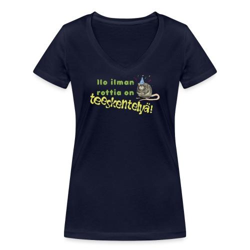Ilo ilman rottia - kuvallinen - Stanley & Stellan naisten v-aukkoinen luomu-T-paita