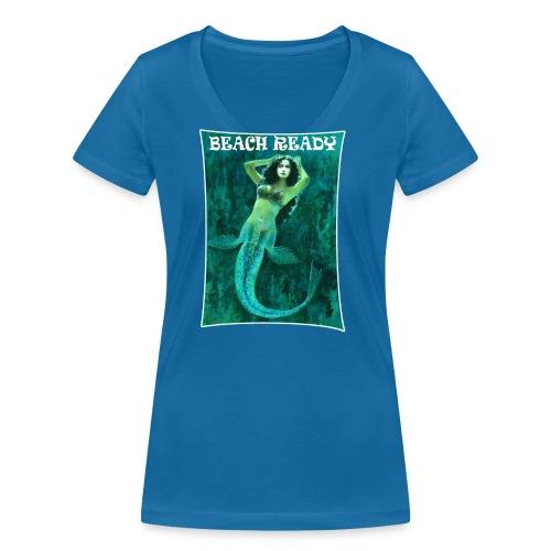 Vintage Pin-up Beach Ready Mermaid - Women's Organic V-Neck T-Shirt by Stanley & Stella