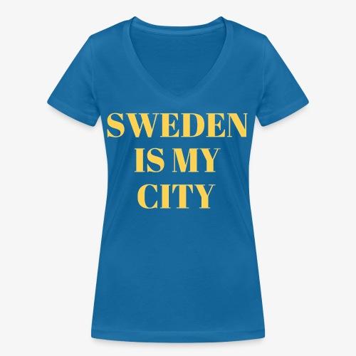 Sverige är min stad - Ekologisk T-shirt med V-ringning dam från Stanley & Stella