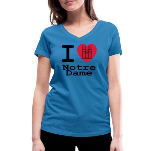 I love Notre Dame - Vrouwen bio T-shirt met V-hals van Stanley & Stella