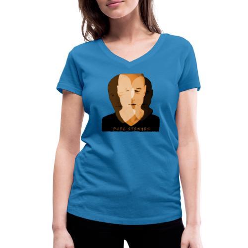 Front Man (orange) - Økologisk Stanley & Stella T-shirt med V-udskæring til damer
