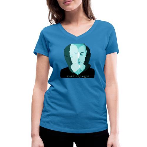 Front Man (turquise) - Økologisk Stanley & Stella T-shirt med V-udskæring til damer
