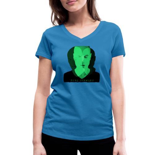 Front Man (green) - Økologisk Stanley & Stella T-shirt med V-udskæring til damer