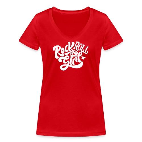 Rock n Roll Girl - Stanley & Stellan naisten v-aukkoinen luomu-T-paita
