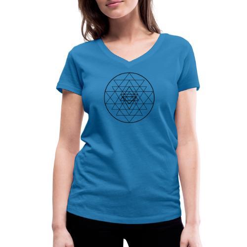 Sri Yantra - black and white - Økologisk Stanley & Stella T-shirt med V-udskæring til damer