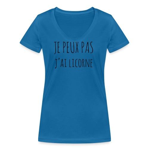 Je peux pas j'ai Licorne - T-shirt bio col V Stanley & Stella Femme