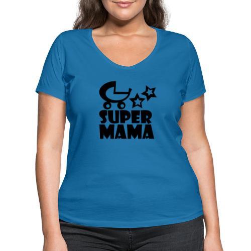 supermama - Frauen Bio-T-Shirt mit V-Ausschnitt von Stanley & Stella