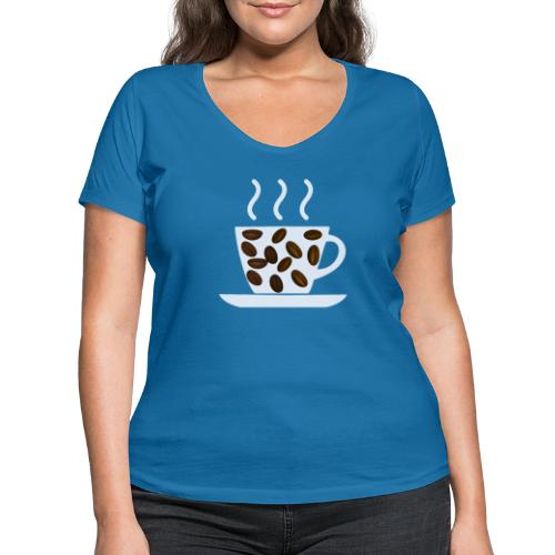 grey cup cofee with beans - T-shirt ecologica da donna con scollo a V di Stanley & Stella